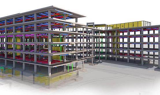 A imagem demonstra um projeto estrutural realizado com o autodesk revit.