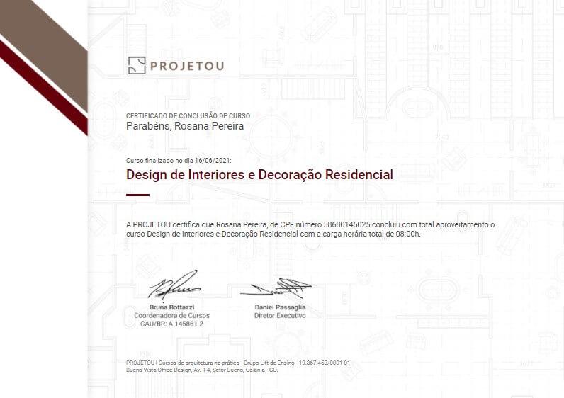 certificado do curso de design de interiores e decoração residencial da projetou