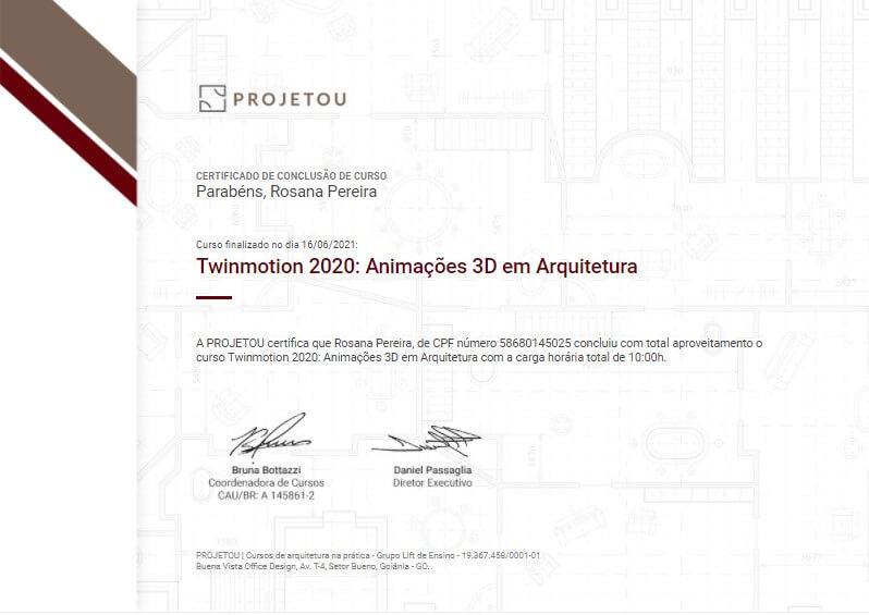 certificado do curso de twinmotion da projetou