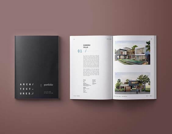 portfolio de arquitetura com indice