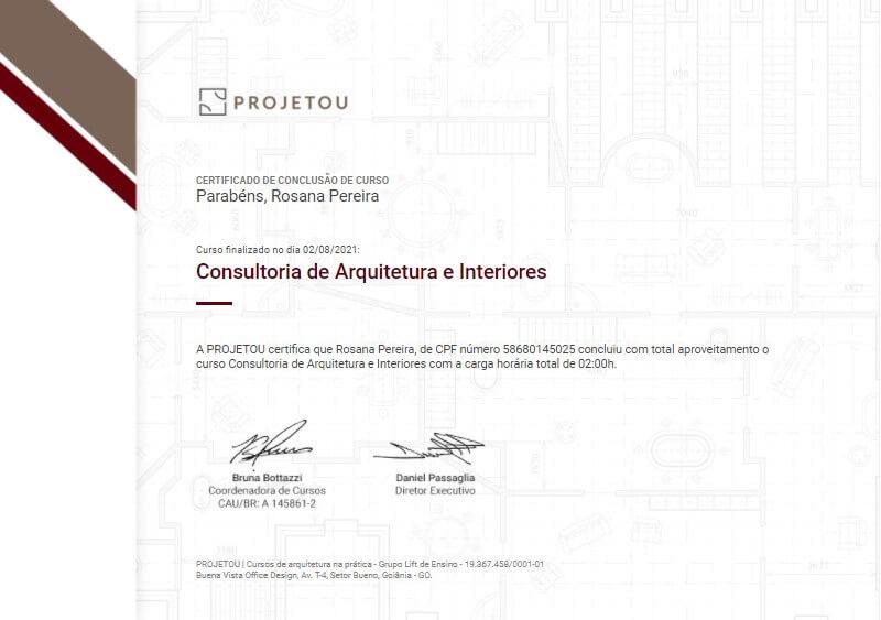 certificado da projetou do curso de consultoria de arquitetura e interiores