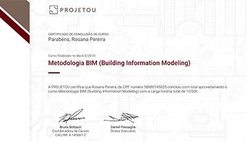Certificado de conclusão de curso de metodologia BIM da Projetou