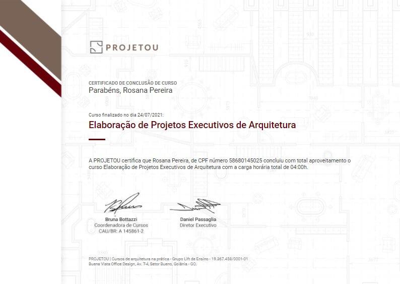 certificado do curso de projeto executivo da projetou