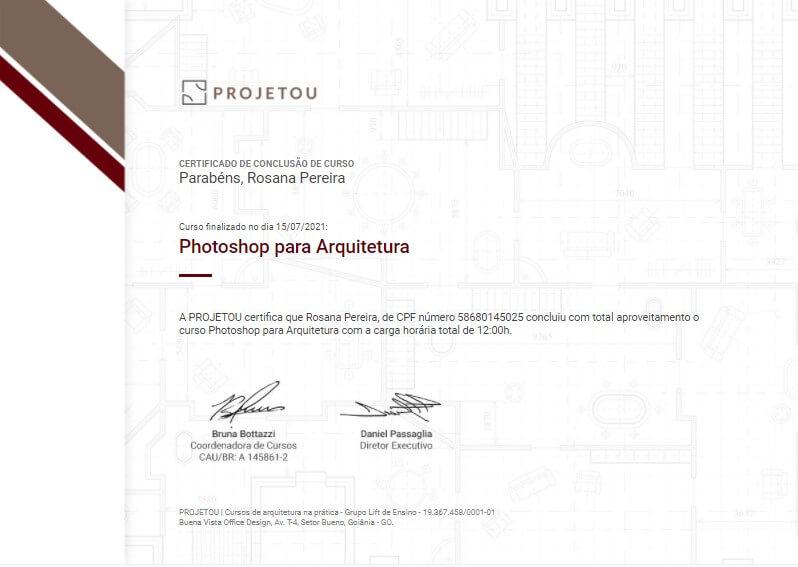 certificado do curso de photoshop para arquitetura da projetou
