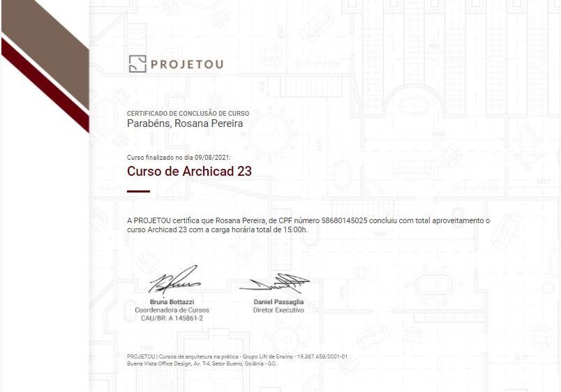 certificado do curso de archicad 23 da projetou